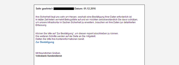 Beispiel einer Phishing-Mail mit Informationen zum Online-Konto